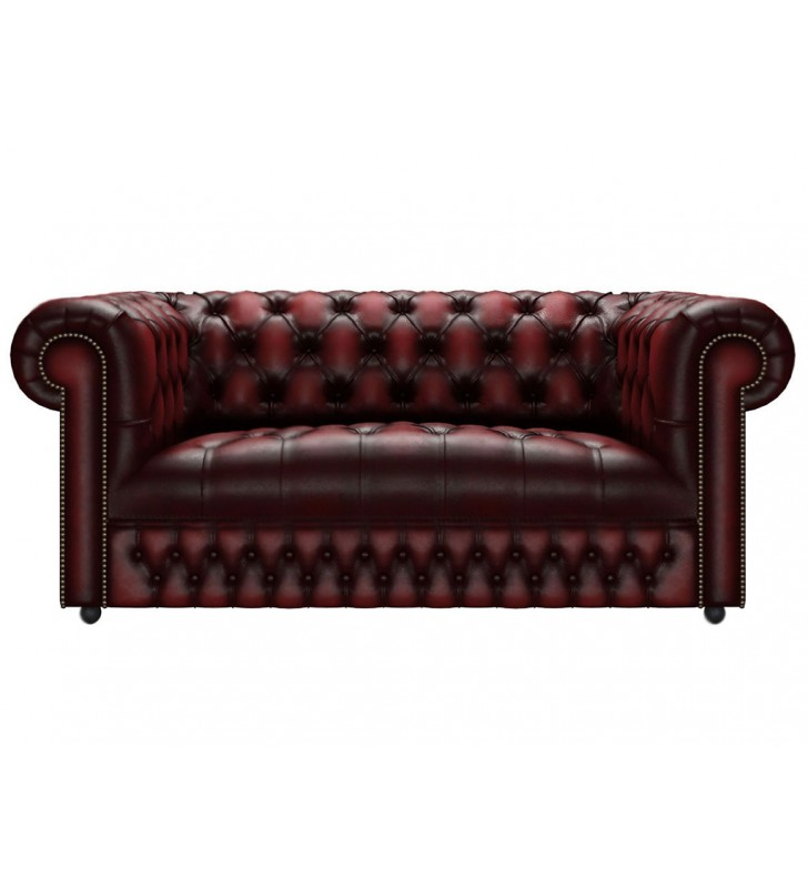 Leather Antique Oxblood Red 2 Seater Sofa Image