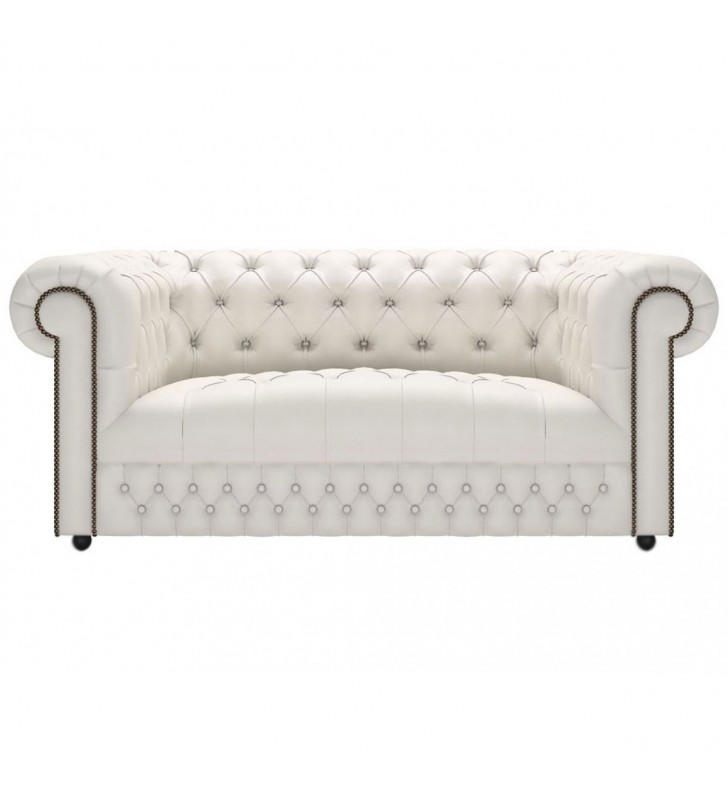 Chesterfield Button Seat Genuine Leather Shelly White 2 Seater Sofa
