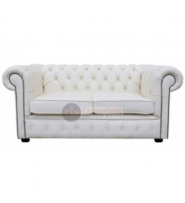 Chesterfield Genuine Leather White Two Seater Sofa