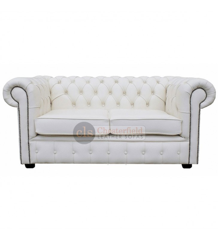09b156db9f9b Chesterfield Genuine Leather White Two Seater Sofa