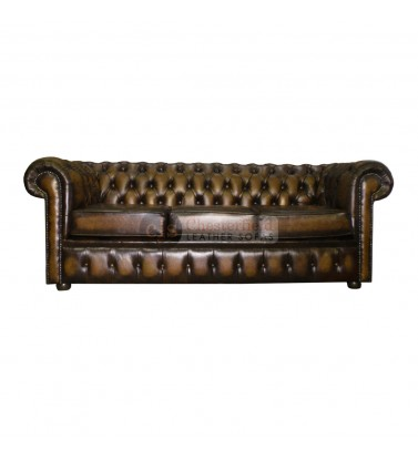 Chesterfield Genuine Leather Antique Brown Three Seater Sofa