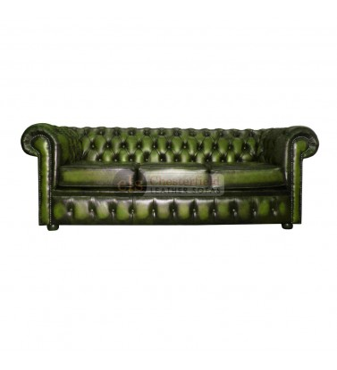 Chesterfield Genuine Leather Antique Green Three Seater Sofa