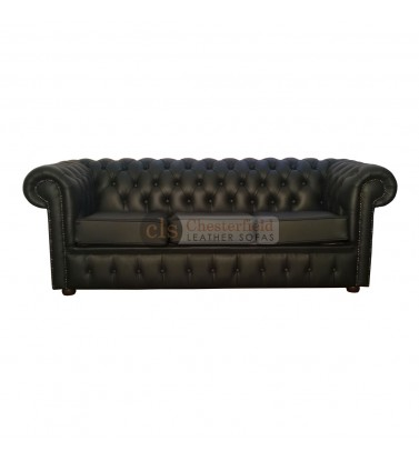 Chesterfield Genuine Leather Black Three Seater Sofa