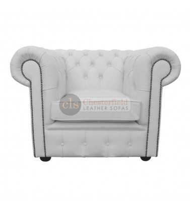 Chesterfield Genuine Leather White Club Chair