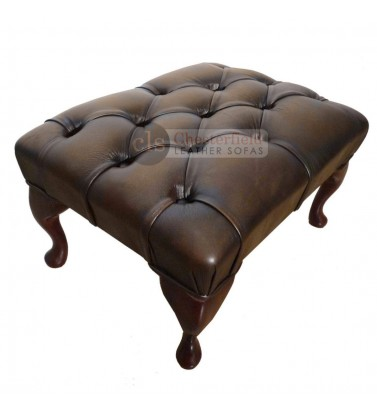Chesterfield Antique Brown Genuine Leather Footstool