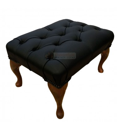 Chesterfield Black Genuine Leather Footstool