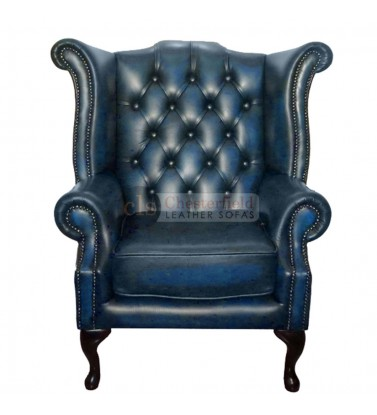 Chesterfield Genuine Leather Antique Blue Queen Anne Armchair