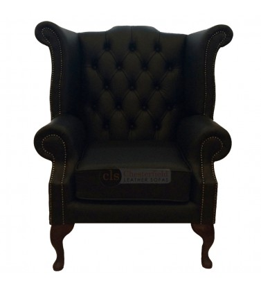 Chesterfield Genuine Leather Black Queen Anne Armchair