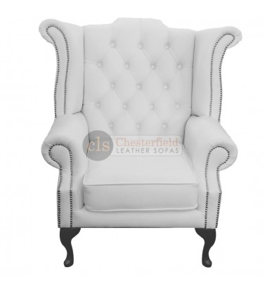 Chesterfield Genuine Leather White Queen Anne Armchair