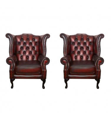 Chesterfield Genuine Leather Queen Anne Armchair Set of Two