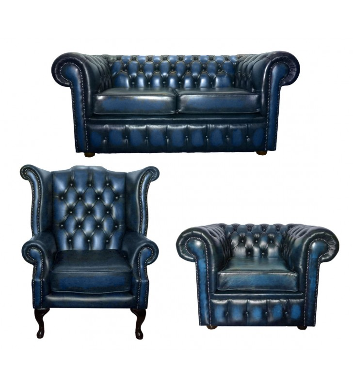 Chesterfield Genuine Leather Two Seater Sofa Queen Anne ...