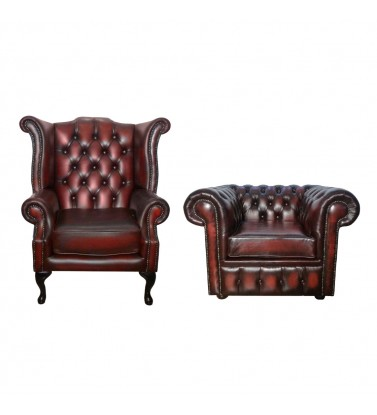 Chesterfield Genuine Leather Club Chair and Queen Anne Armchair