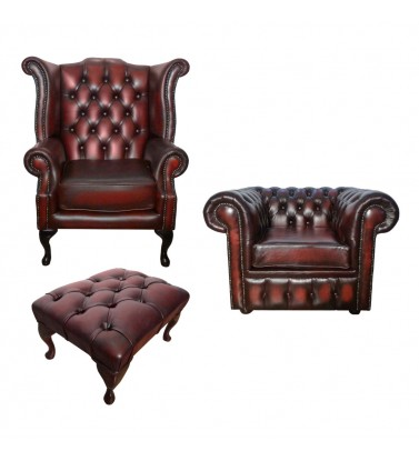 Chesterfield Genuine Leather Club Chair and Queen Anne Armchair Set With Footstool